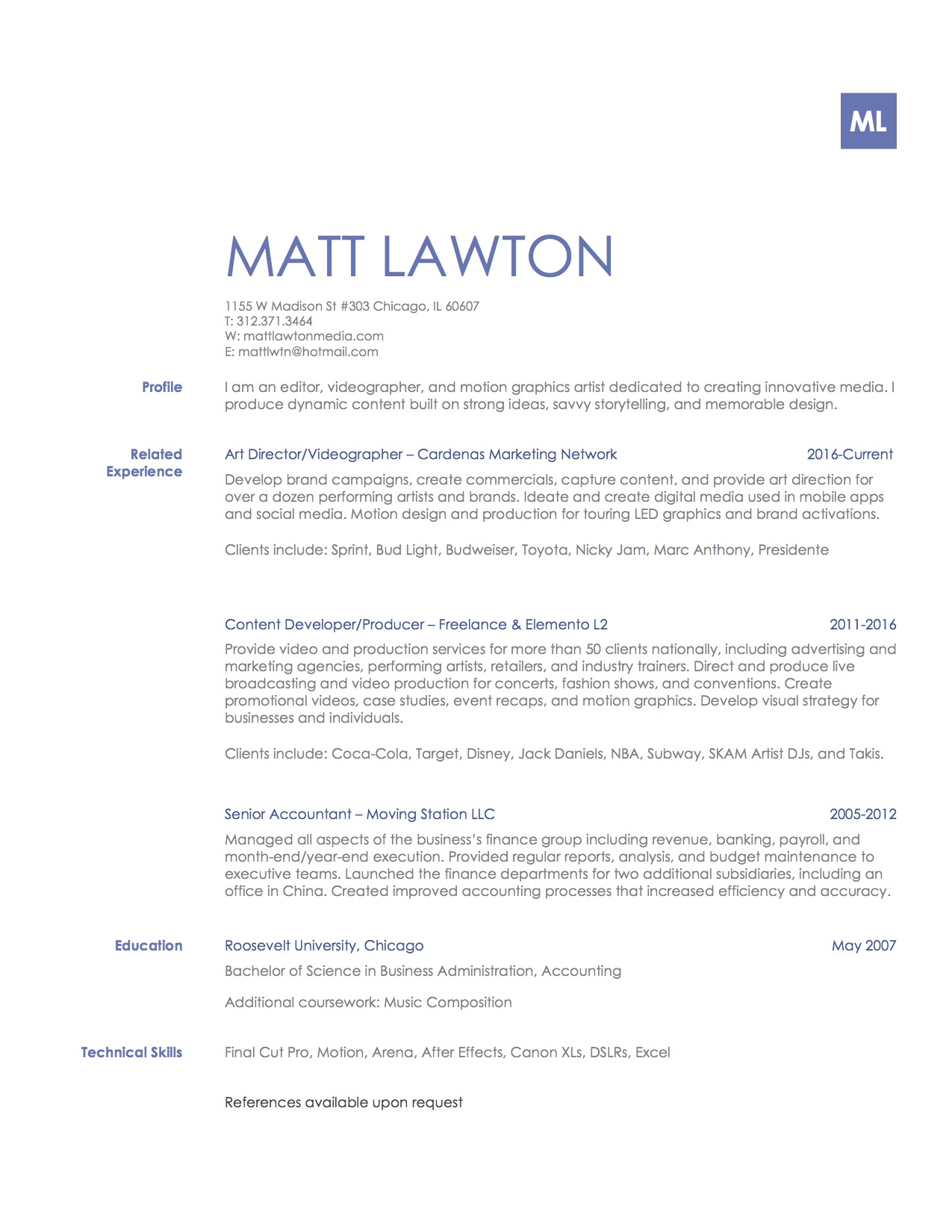 Videographer resume example